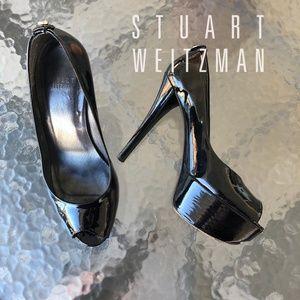 Stuart Weitzman Peep Toe Platform Stilettos 6.5